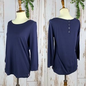 GAP Navy Soft 3/4 Sleeve 1/2 Button Back Layer Top